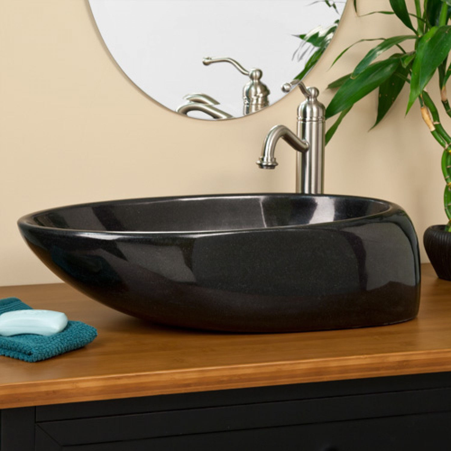 Asymmetrical Oval Black Granite Vessel Sink