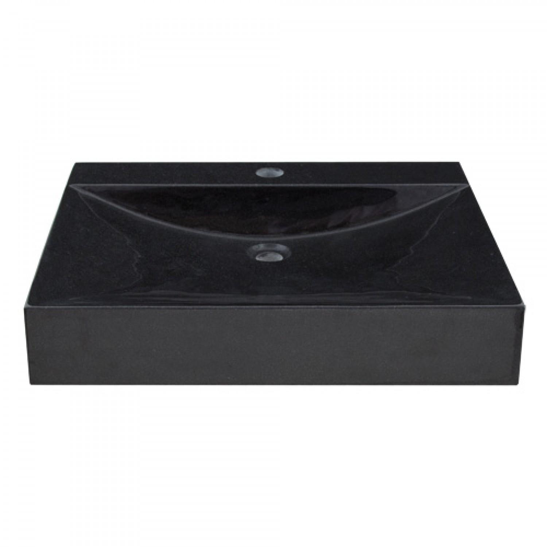 Rectangular Black Granite Vessel Sink With Polished Exterior