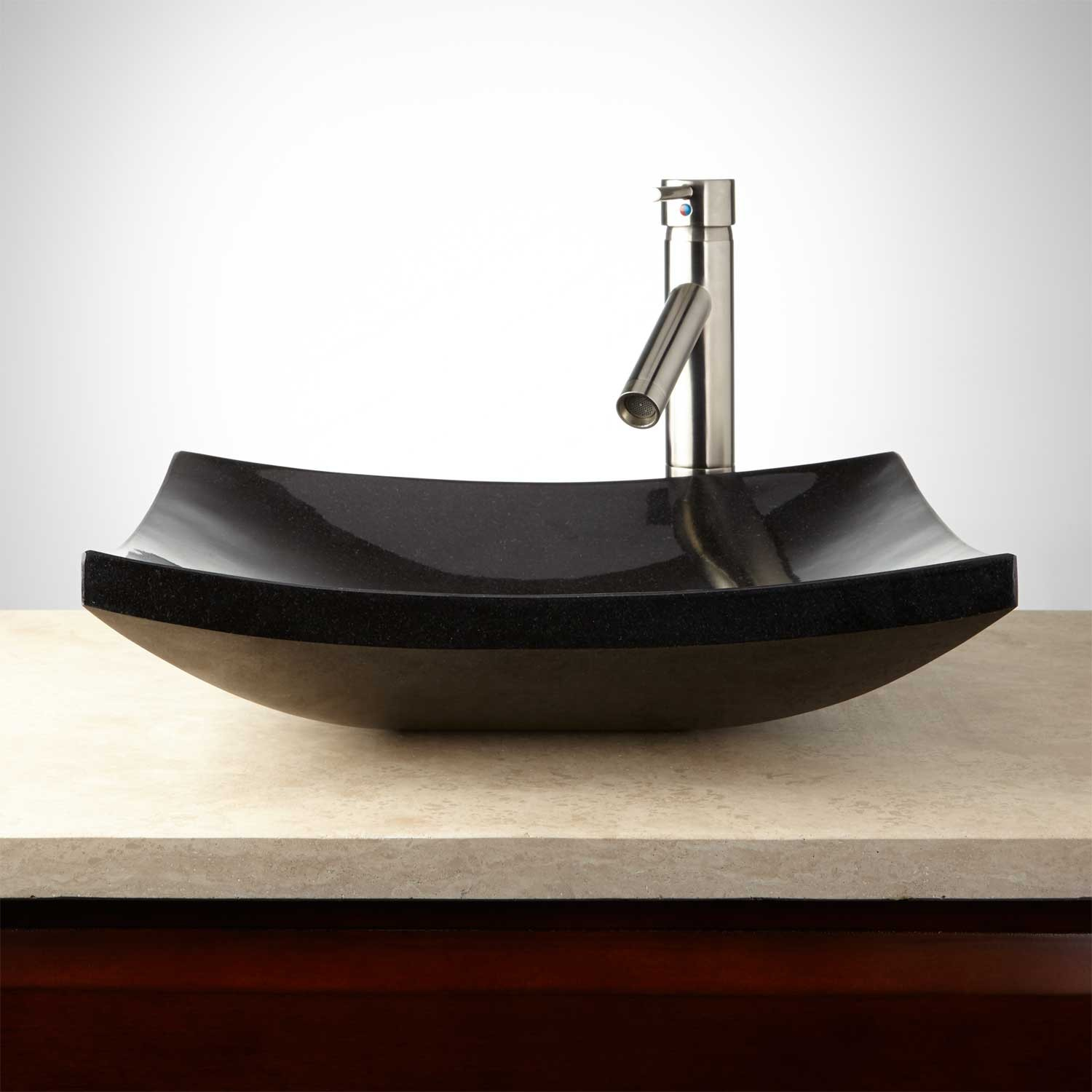 Absolute Black Curved Rectangular Granite Vessel Sink