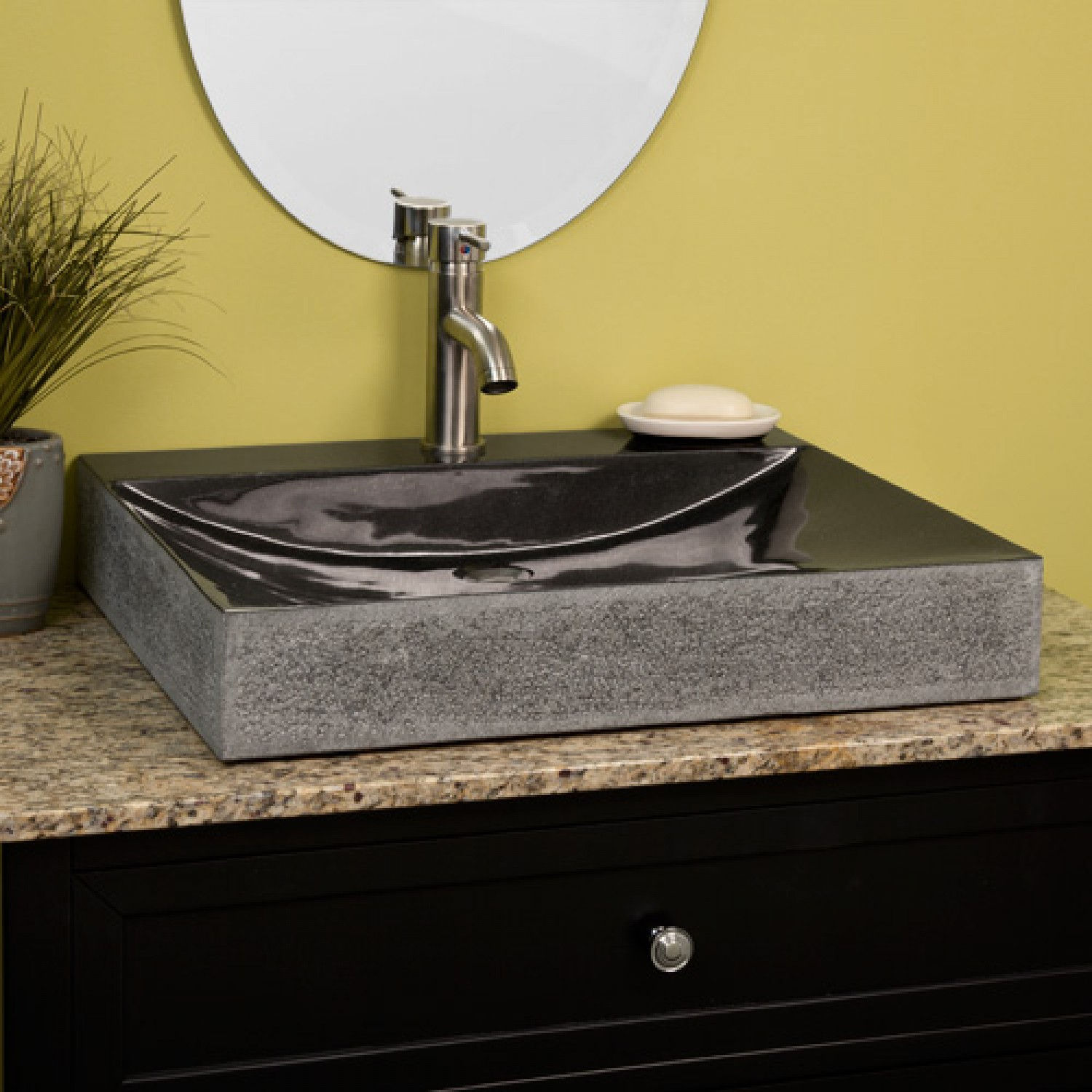 Rectangular Black Granite Vessel Sink Rough Exterior